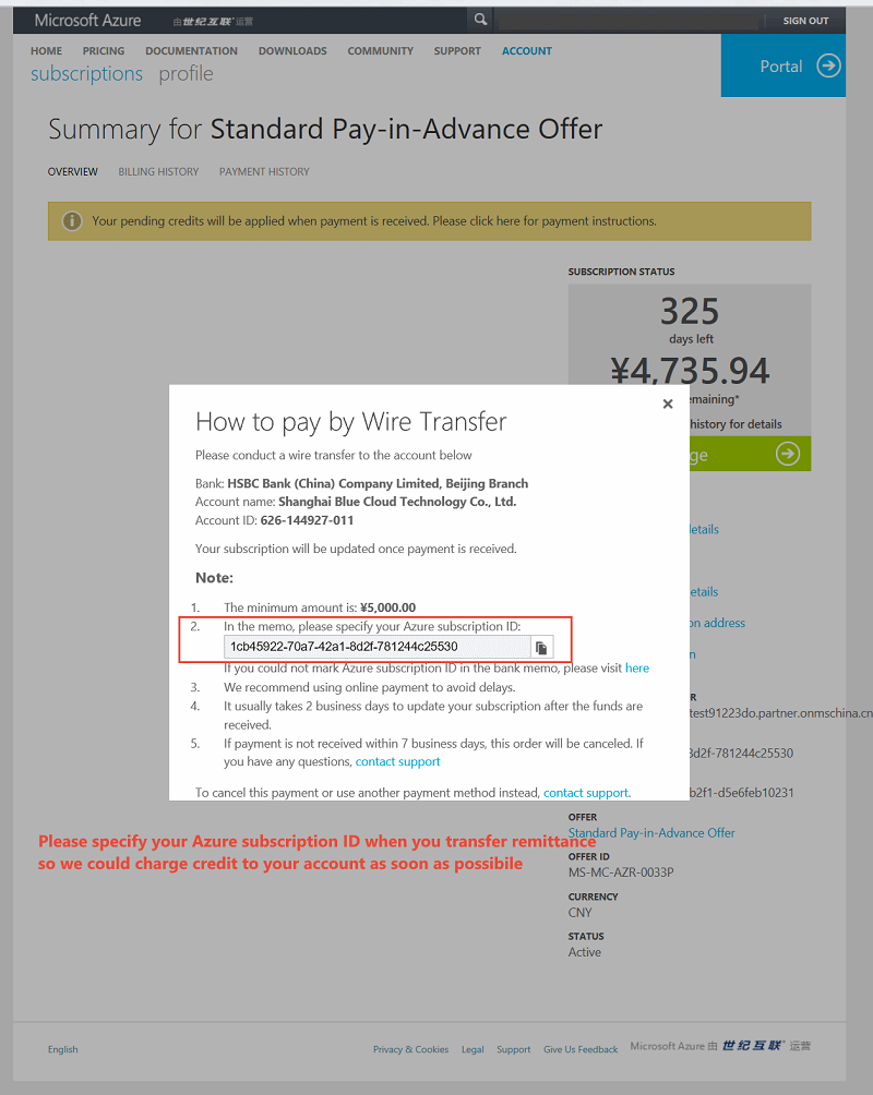 Pay for a standard Pay-in-advance (PIA) subscription by wire ...