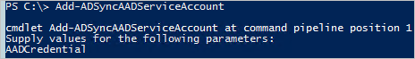 PowerShell cmdlet addadsyncaadserviceaccount