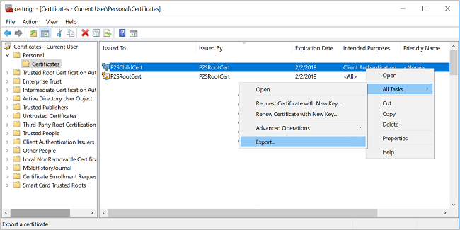 Screenshot shows the Certificates window for the current user with Certificates selected and Export selected from All Tasks.