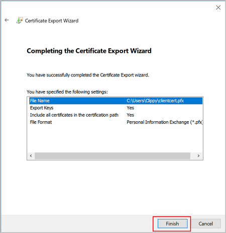 Screenshot shows the Certificate Export Wizard with the entered settings.