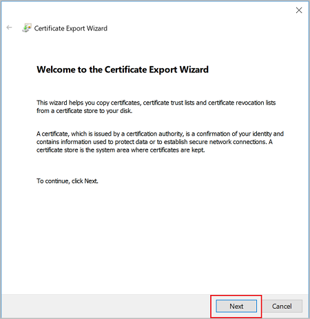 Screenshot shows the Certificate Export Wizard Welcome message.