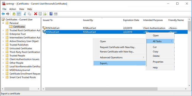 Screenshot shows the Certificates window for the current user with Certificates selected and a contextual menu with Export selected from All Tasks.
