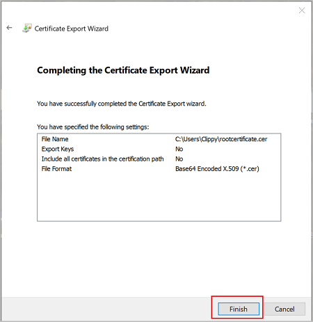 Screenshot shows the Certificate Export Wizard with the selected settings.