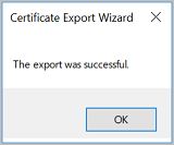 Screenshot shows a message that the export was successful.