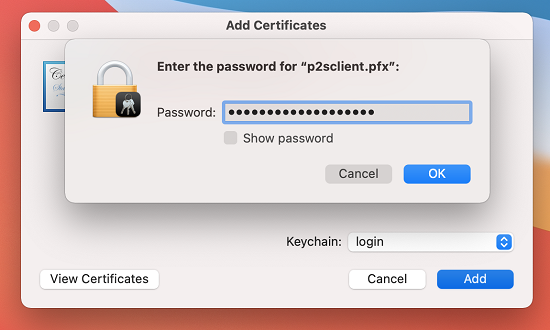Screenshot shows a dialog box that prompts you for a password.
